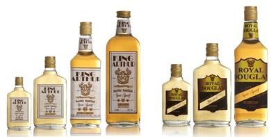 different branded whisky bottles