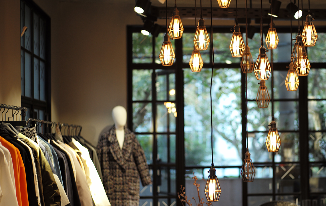 lights in small clothing store